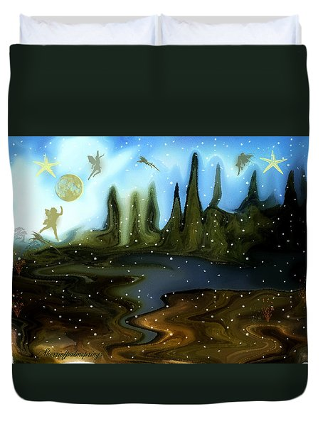 Duvet Cover featuring the painting Land Of The Fairies  For Kids by Sherri  Of Palm Springs
