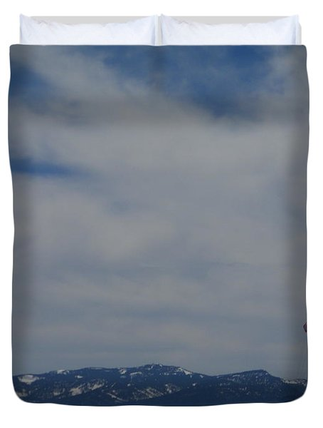 Duvet Cover featuring the photograph Parasail Landing by Bobbee Rickard
