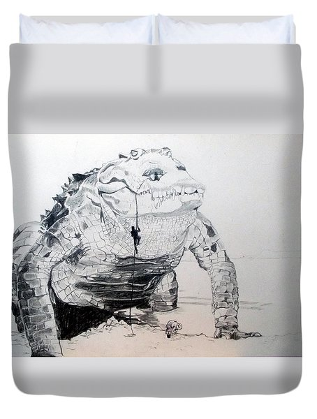 Duvet Cover featuring the drawing Landing by Lazaro Hurtado