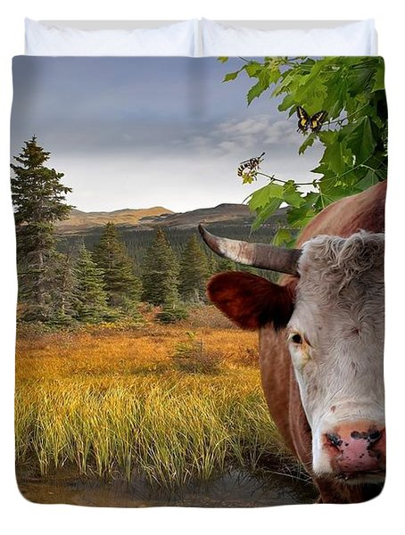 Landscape - Animals - Peek A Boo Cow Duvet Cover by Liane Wright