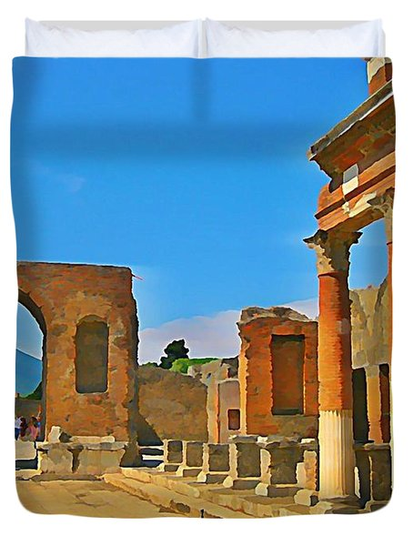 Landscape At Pompeii Italy Ruins Duvet Cover by John Malone