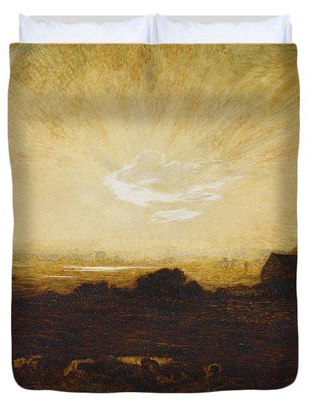 Landscape At Sunset Duvet Cover by Marie Auguste Emile Rene Menard