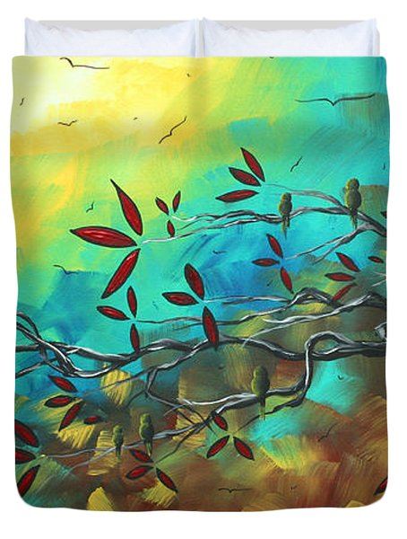 Landscape Bird Original Painting Family Time By Madart Duvet Cover by Megan Duncanson