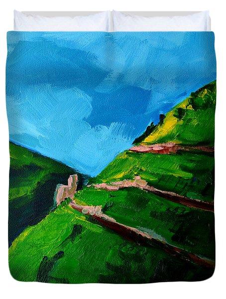 Landscape Castle Along The River Rhine Duvet Cover by Patricia Awapara