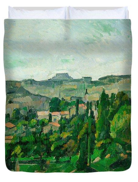 Landscape In The Ile-de-france Duvet Cover by Paul Cezanne