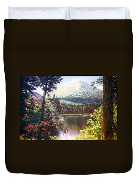 Landscape-lake And Trees Duvet Cover by Loxi Sibley