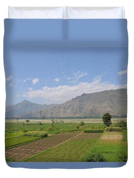 Duvet Cover featuring the photograph Landscape Of Mountains Sky And Fields Swat Valley Pakistan by Imran Ahmed
