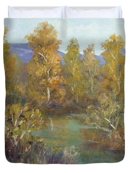 Landscape River And Trees Paintings Duvet Cover
