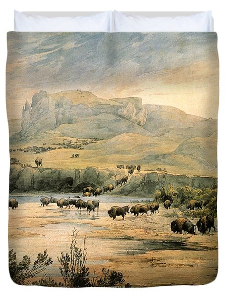Landscape With Buffalo Ont The Upper Missouri Duvet Cover by Karl Bodmer