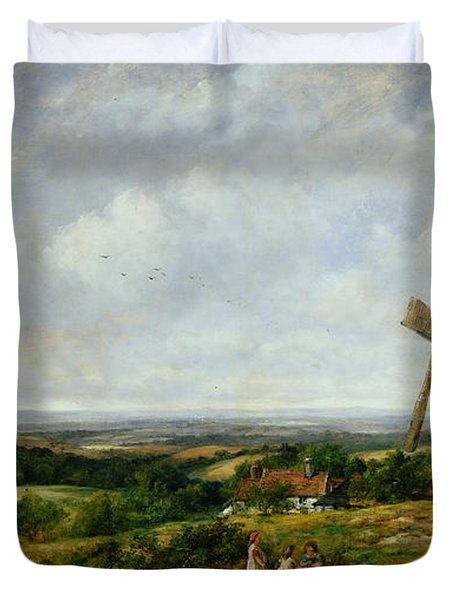 Landscape With Figures By A Windmill Duvet Cover by Frederick Waters Watts