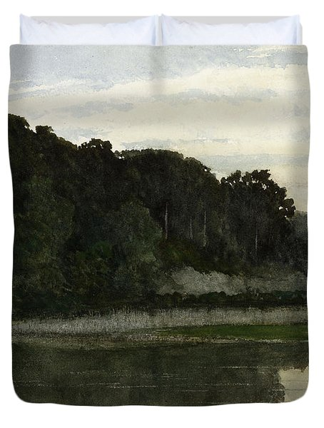 Landscape With Heron Duvet Cover by William Frederick Yeames