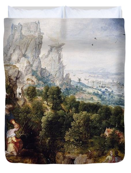Landscape With The Offering Of Isaac, C.1540 Oil On Panel Duvet Cover