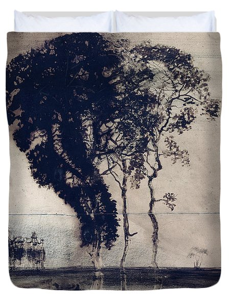 Landscape With Three Trees Duvet Cover
