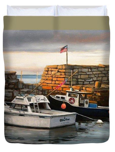 Lanes Cove Fishing Boats Duvet Cover