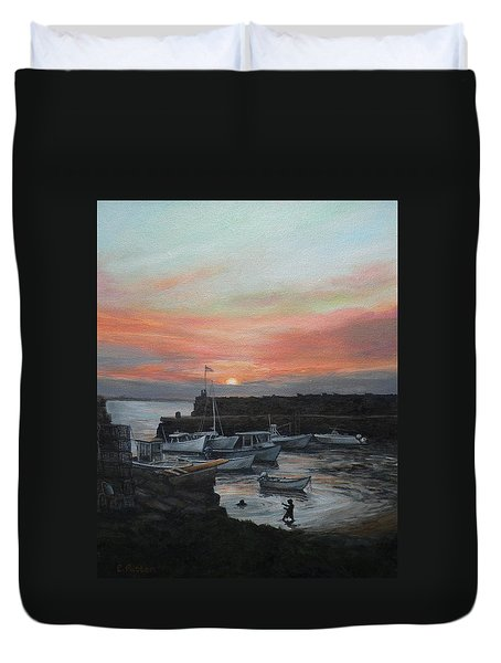 Lanes Cove Sunset Duvet Cover by Eileen Patten Oliver