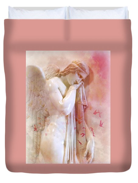Duvet Cover featuring the photograph L'angelo Celeste by Micki Findlay