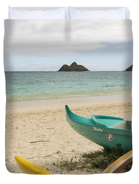 Lanikai Beach Outrigger 2 - Oahu Hawaii Duvet Cover by Brian Harig