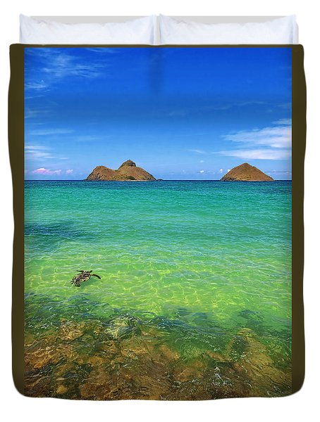 Lanikai Beach Sea Turtle Duvet Cover