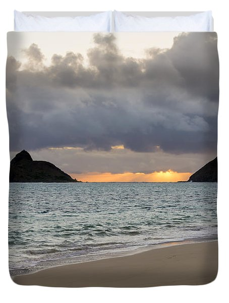 Lanikai Beach Sunrise 4 - Kailua Oahu Hawaii Duvet Cover by Brian Harig