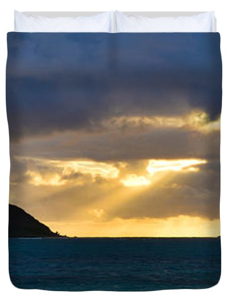 Lanikai Beach Sunrise Panorama 2 - Kailua Oahu Hawaii Duvet Cover by Brian Harig