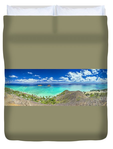 Lanikai Bellows And Waimanalo Beaches Panorama Duvet Cover