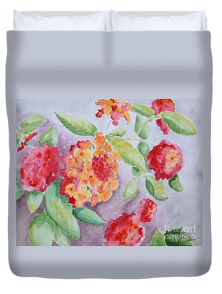 Duvet Cover featuring the painting Lantana by Marilyn Zalatan