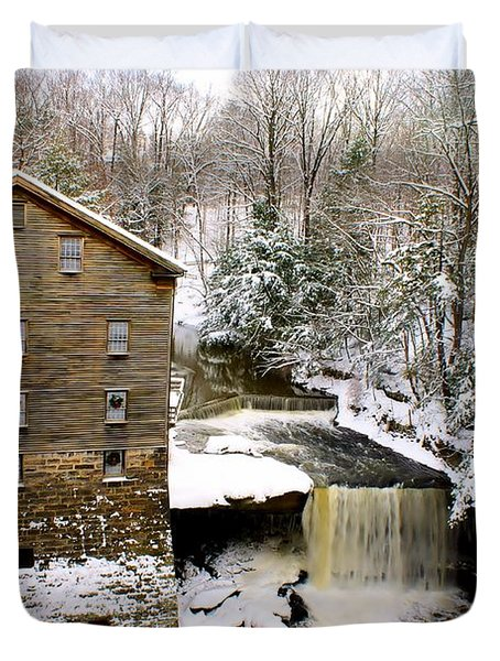 Lanterman's Mill In Winter Duvet Cover