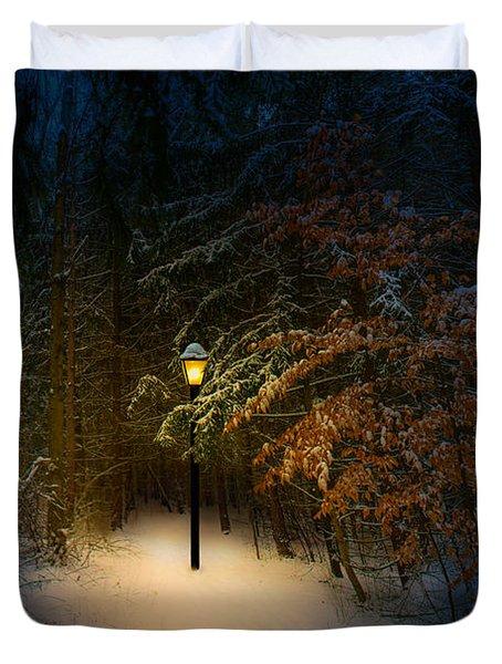 Lantern In The Wood Duvet Cover