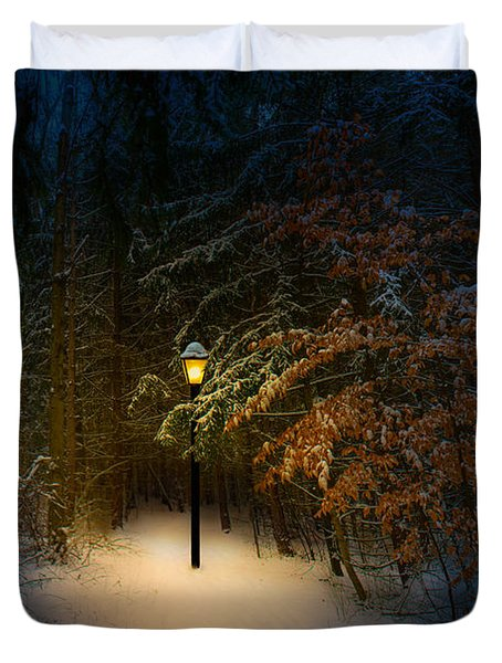 Lantern In The Wood Duvet Cover