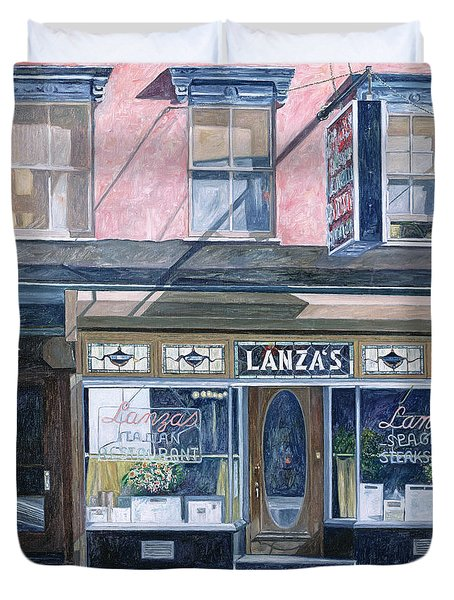 Lanza's Restaurant 11th Street East Village Duvet Cover by Anthony Butera