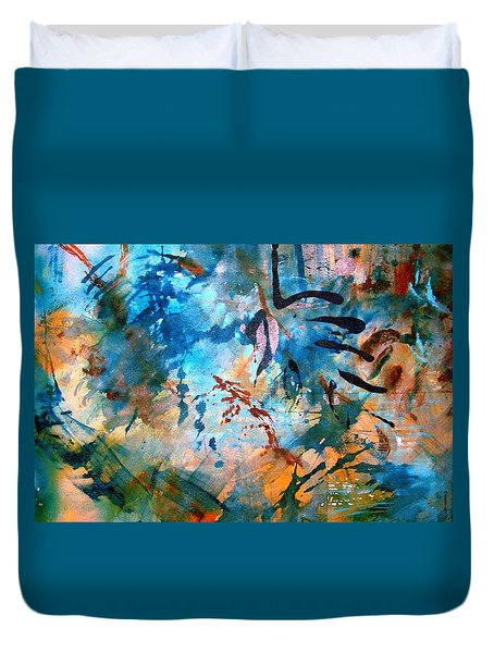 Lapis Leaves Duvet Cover by Mary Schiros