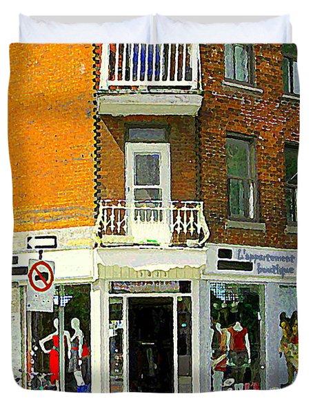 L'appartement Boutique Fashions Trendy Chic Clothing Store Ave Du Mont Royal City Scene  Duvet Cover by Carole Spandau
