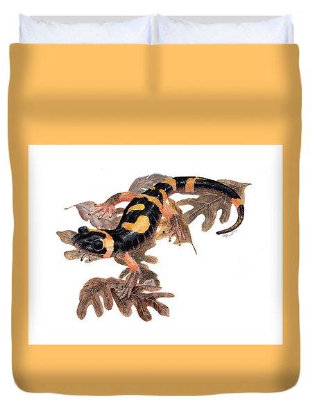 Large Blotched Salamander On Oak Leaves Duvet Cover