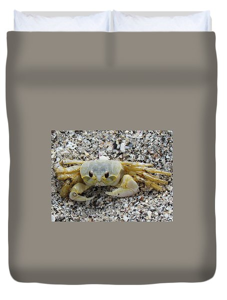 Duvet Cover featuring the photograph Ghost Crab by Cynthia Guinn