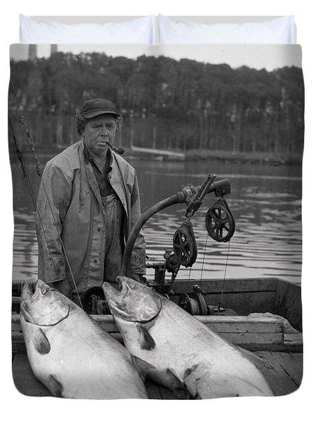 Large King Salmon Moss Landing Monterey California  Circa 1955 Duvet Cover