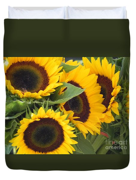 Duvet Cover featuring the photograph Large Sunflowers by Chrisann Ellis