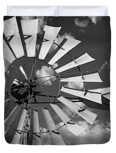 Large Windmill In Black And White Duvet Cover