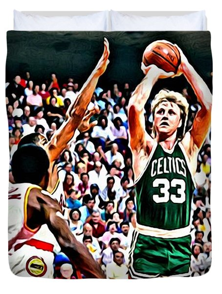Larry Bird Duvet Cover by Florian Rodarte