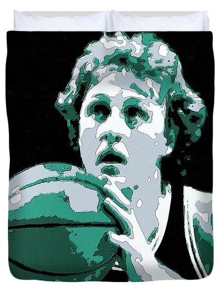 Larry Bird Poster Art Duvet Cover