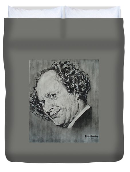 Larry Fine Of The Three Stooges - Where's Your Dignity? Duvet Cover by Sean Connolly