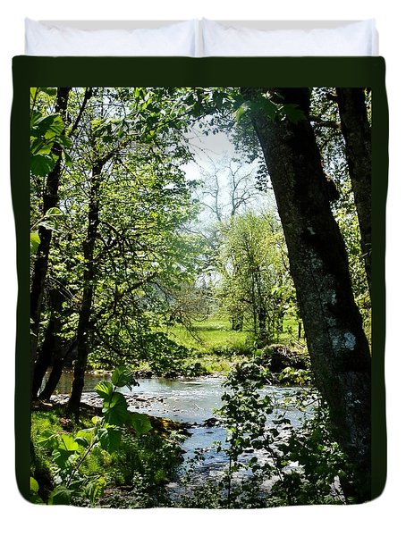 Duvet Cover featuring the photograph Larwood Stream by VLee Watson