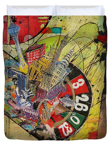Las Vegas Collage Duvet Cover by Corporate Art Task Force