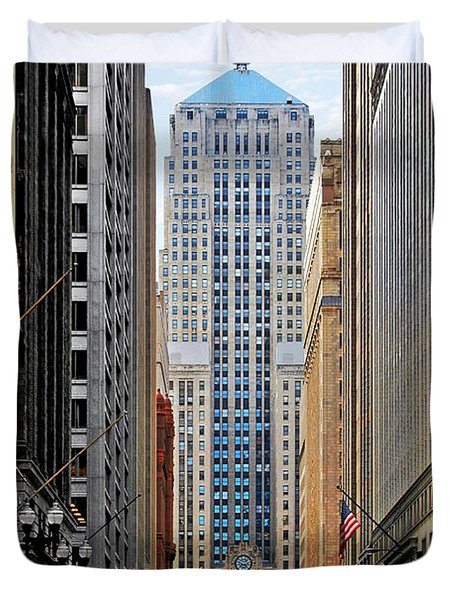 Lasalle Street Chicago - Wall Street Of The Midwest Duvet Cover by Christine Till