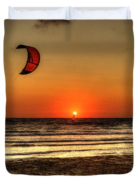 Duvet Cover featuring the photograph Last Glipses Of Sun At Prasonisi Bay by Julis Simo