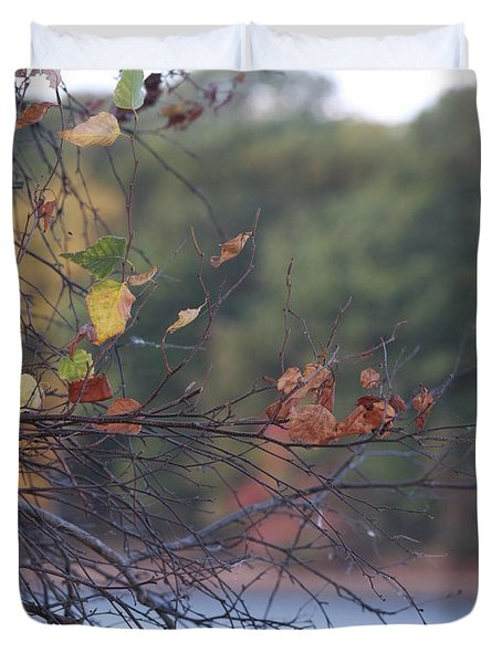 Duvet Cover featuring the photograph Last Leaves by Vadim Levin