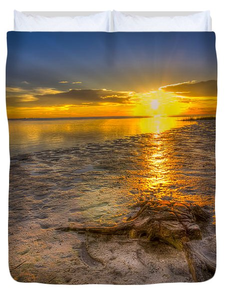 Last Light Over The Gulf Duvet Cover