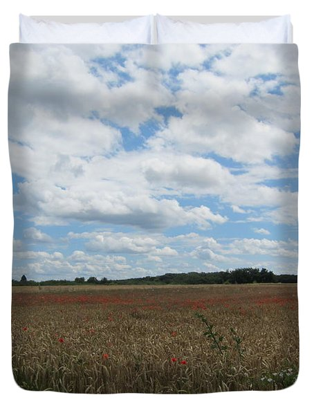 Duvet Cover featuring the photograph Last Of The Poppies by Pema Hou
