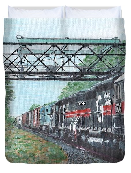 Last Train Under The Bridge Duvet Cover by Cliff Wilson