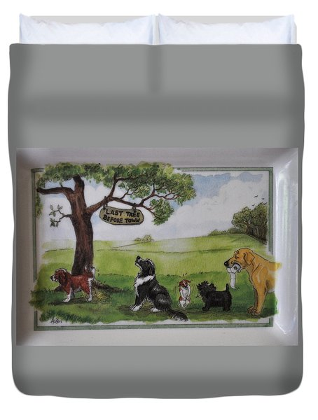 Last Tree Dogs Waiting In Line Duvet Cover