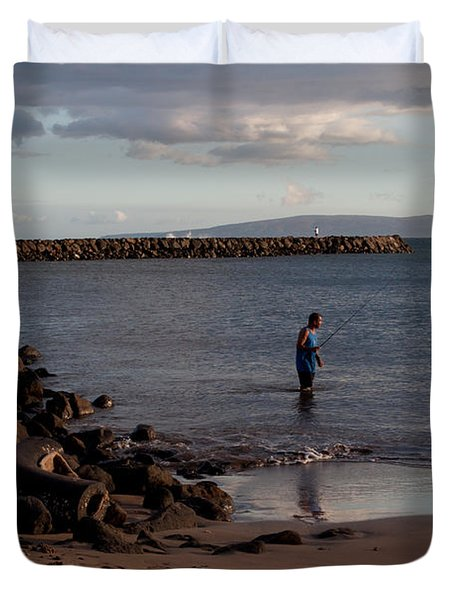 Late Afternoon Angler - Maalaea-maui Duvet Cover by Paulette B Wright